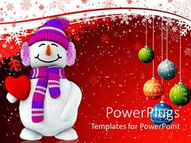 Beautiful presentation with christmas theme with happy smiling snowman holding red heart and Christmas decorations colorful balls snowflakes on white and red background