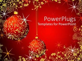 Colorful presentation design having christmas theme with red and gold glowing Christmas globes on glowing red background with gold flowers