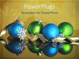 Elegant PPT theme enhanced with christmas theme with two blue and two green Christmas balls with golden ribbon and silver snowflake on snowflake khaki background