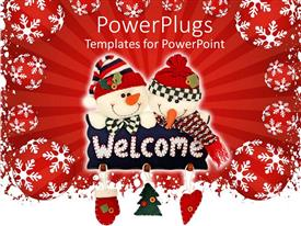 Colorful slide deck having christmas theme two snowmen holding welcome sign pillow Christmas tree heart Santa glove, red decorations with white snowflakes