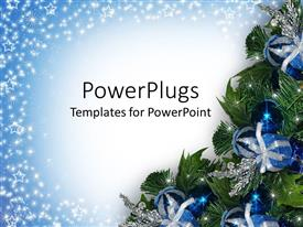 Elegant theme enhanced with a Christmas tree with lots of blue and silver ornaments