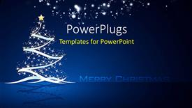 PPT theme consisting of christmas tree with stars and decoration on dark blue Christmas background