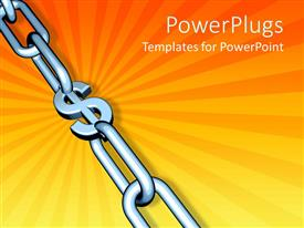 Elegant PPT layouts enhanced with chrome chain on orange background with dollar sign at center of links