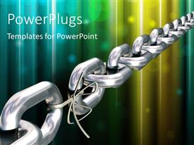 Slides featuring chrome chain with a weak link over colorful background