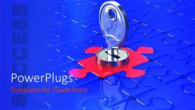 PPT theme with chrome key in lock on red jigsaw puzzle piece
