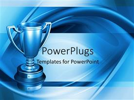 Presentation consisting of chrome trophy over swirly ripple background in blue