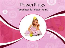 PPT theme with circular close up depiction of girl in pink dress and yellow flower in hair with green apple