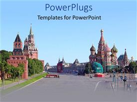 Elegant theme enhanced with city depiction of Kremlin, beautiful buildings, temples, churches street view