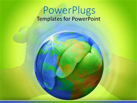 PPT theme featuring clasped hands behind globe on green background