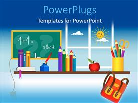 Presentation theme with a classroom setting with lots of educational materials around