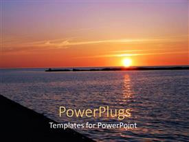 PPT theme featuring clear sunset showing the yellow sun and the sea