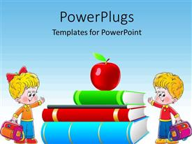 5000 comic powerpoint templates w comic themed backgrounds slide deck having clip art of apple on book pile with two kids dressed for school template size toneelgroepblik Images