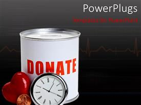 Slide deck consisting of a clock and a heart with a donation box in the background