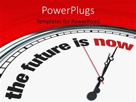 Colorful presentation theme having a clock with the words about future and reddish background