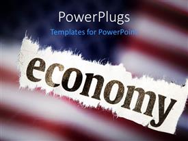 Presentation theme enhanced with close-up of cloth with text economy over blurred American flag