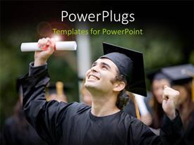 Elegant presentation design enhanced with close-up of happy graduant with diploma and graduation cap