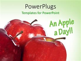 Presentation having close-up of three red apples on green surface
