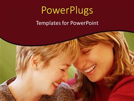 PPT theme having close-up of two happy women laughing with blur in background