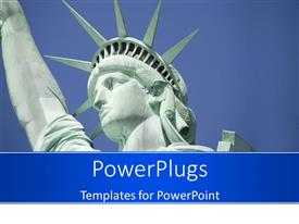 PPT theme featuring close-up view of the Statue of Liberty with clear sky in background