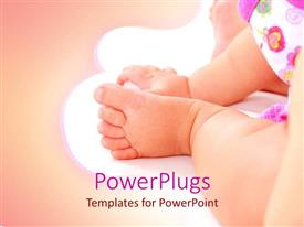 Elegant presentation theme enhanced with close up baby foot and hand