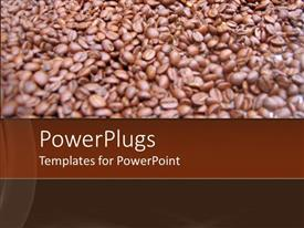PPT theme featuring close up of coffee beans in blurred vision with coffee colored background