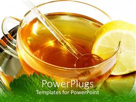 PPT theme having close up of cup of tea with mint lemon and honey