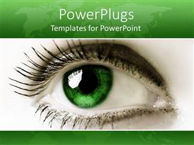 Presentation enhanced with close up female green eye green background