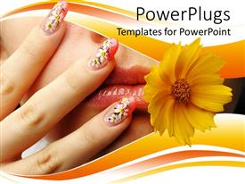 Beautiful presentation design with close up of female mouth and hand with nails, chamomile design on nails and yellow flower near woman's mouth