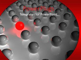 Colorful presentation theme having close up of glossy gray spheres and red glowing sphere in row