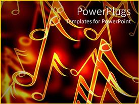 Presentation featuring close up of golden music notes in red background