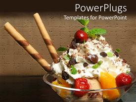 Presentation design enhanced with close up ice cream sundae with fruits leaves and candy straws