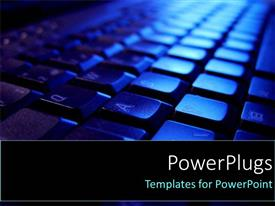 Presentation theme enhanced with close up of keyboard in blue with shadows