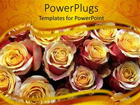 Elegant presentation theme enhanced with close up of many yellow pink roses with yellow margins