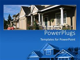PPT theme featuring close up of new home on blue background