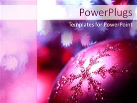 Presentation theme with a close up shot of a purple colored Christmas tree ornament
