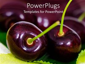PPT theme having close up shot of two cherries on a blurry background