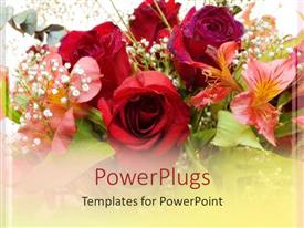 Amazing presentation consisting of close up of various colorful flower bouquet, red roses and pink lily
