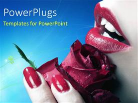 PPT theme having a close up view of a lady holding a red flower