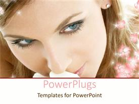 Presentation theme with a close up view of  pretty lady with shinning flowers