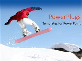 Presentation theme consisting of close up view of snowboarder jumping in the air on snowy mountain