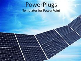 PPT theme featuring a close up view of some solar panels over a blue sky