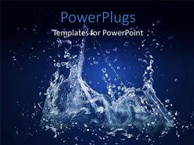 Beautiful presentation design with close up view of water splashing on a blue background