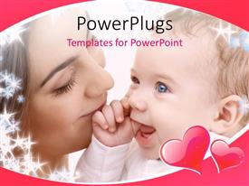 Colorful presentation design having close up view of a woman holding her smiling baby