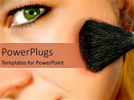 Elegant PPT theme enhanced with close up of woman face applying blush on cheek