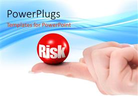 Colorful presentation having closed hand outstretched finger holding red ball with RISK in white letters