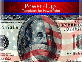 PPT theme enhanced with a closeup of dollar note with American flag in the background