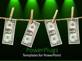 Colorful presentation theme having clothespins holding one dollar bills hanging from rope