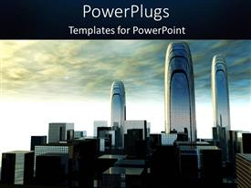 PPT layouts with cloudy sky with depiction of futuristic city