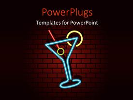 Beautiful PPT theme with cocktail symbol with blue glass and red straw over brick wall