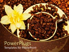 Beautiful presentation theme with coffee bean filled cup saucer yellow flower